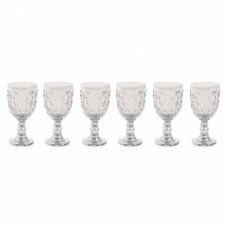 Genomskinligt glas vinglas med arabesk dekoration 12 stycken - Marocko