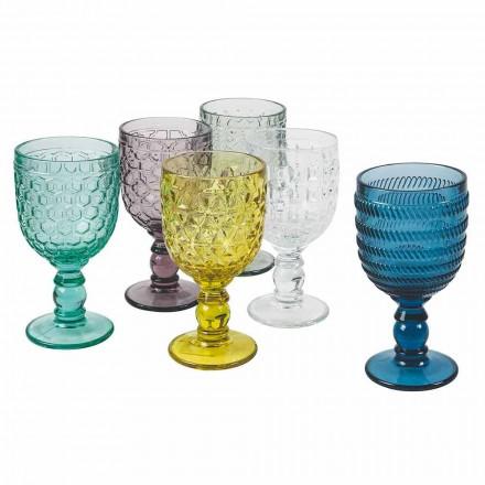 Dekorerade färgade glasbägare Vatten- eller vinservice 12 stycken - mix