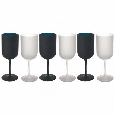 Bägare i frostat glas Vit- och svartvinsservice 12 stycken - Norvegiomasai