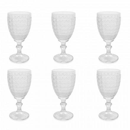 Vinglas i genomskinligt glas och lättnadsdekorationer, 12 stycken - Aperi