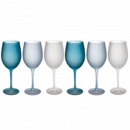 Färgade vinglas i frostat glas med iseffekt, 12 stycken - höst