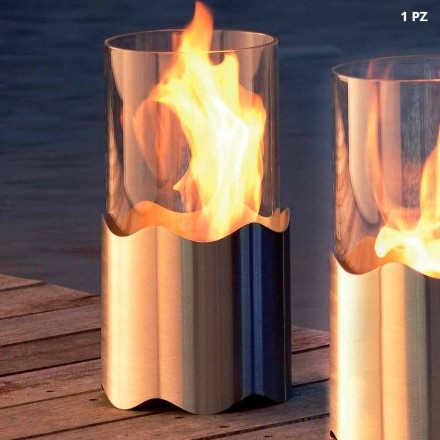 Spis Bioetanol från rostfritt stål och glas bord Leon