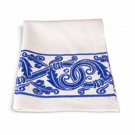Italiensk handgjord linnediskduk med handtryckt ritning