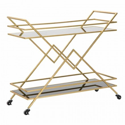 Design Rectangular Food Trolley i Iron, MDF och Mirror - Corinne