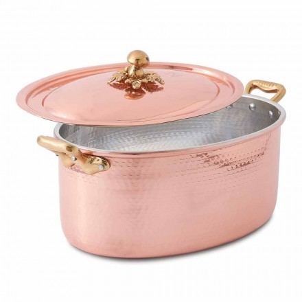 Oval handförten koppargryta för ugn och lock 37x26 cm - Mariag