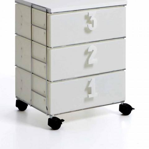 3 lådor med vita handtag och hjul numeriska Yodi