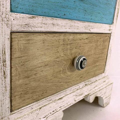 Artisan byrå med 4 lådor i vitt trä tillverkat i Italien - Manhattan
