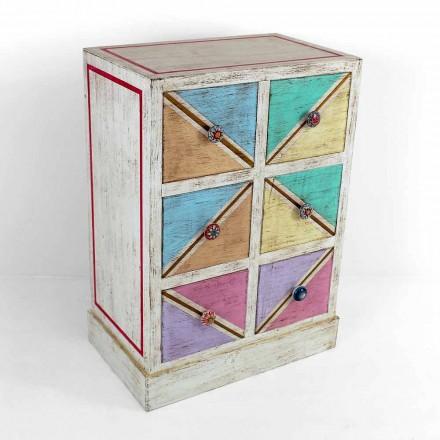 Handgjorda byrå med färgade lådor tillverkade i Italien - Brighella