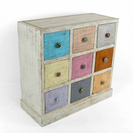 Hantverk byrå i massivt trä med 9 lådor tillverkad i Italien - Pierrot