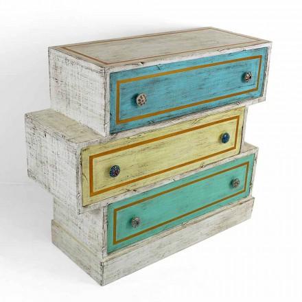 Byrå med färgade lådor och keramiska knoppar tillverkade i Italien - Hendriks