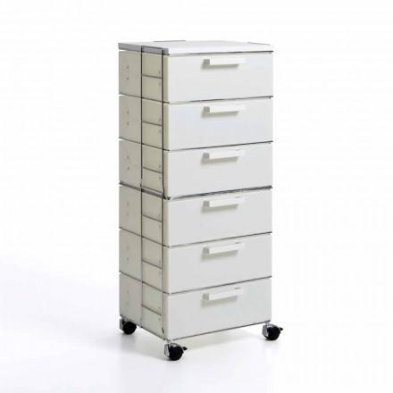 Samtida chiffonjé 6 lådor och pearl white top MDF Valerie