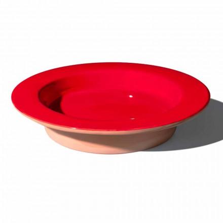 Runt mittstycke i terrakotta och glaserat keramik tillverkat i Italien - Brooke