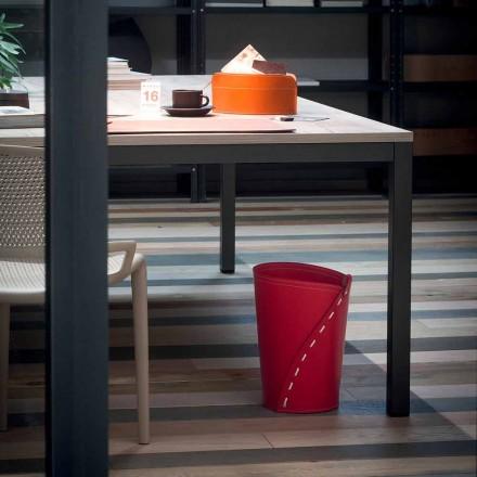 Läderavfallspapperskorg för Servus kontor, handgjord i Italien