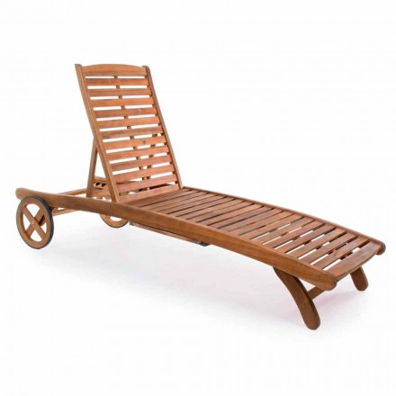Garden Chaise Longue i trä med designhjul för utomhus - Roxen