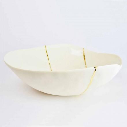 Skålar i vitt porslin och guldblad italiensk lyxig design - Cicatroro