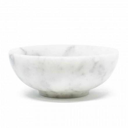 Rund skål i vit vit Carrara-marmor tillverkad i Italien - Delly