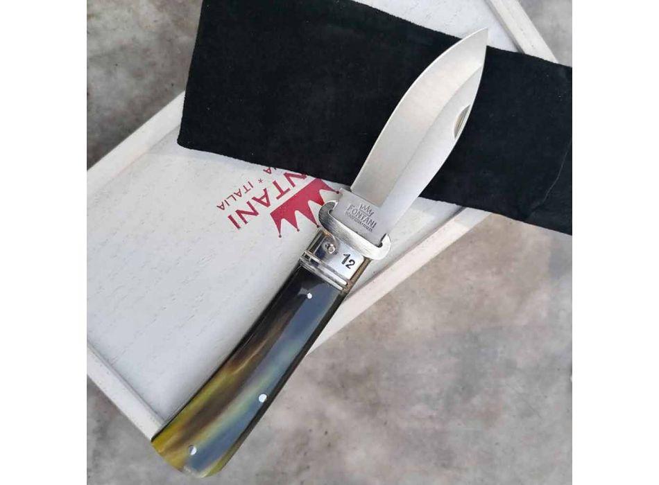 Antik hantverkskniv med horn eller trähandtag tillverkad i Italien - Mugello