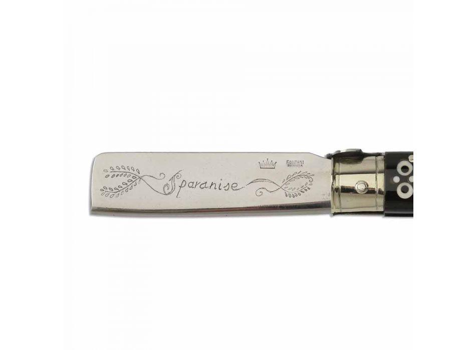 Antik buffelhornkniv med silverdetaljer Tillverkad i Italien - blad