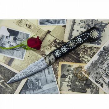Antik handgjord kärlekskniv i horn och stål tillverkad i Italien - Amour