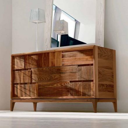 Dresser 3 lådor modern design i massiv valnöt, Nino