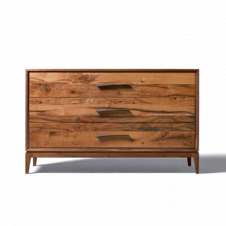 Dresser 3 lådor valnöt modern design, L 131 x B 55 x H 80 cm, Sandro