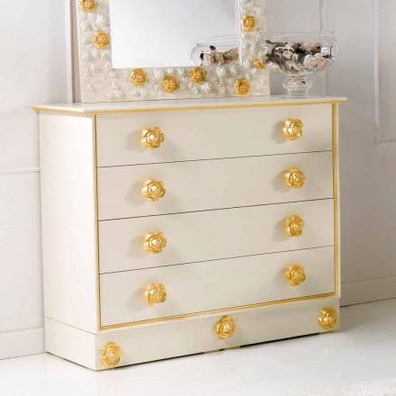 Dresser 4 lådor design med träknoppar i form av rosor Renoir