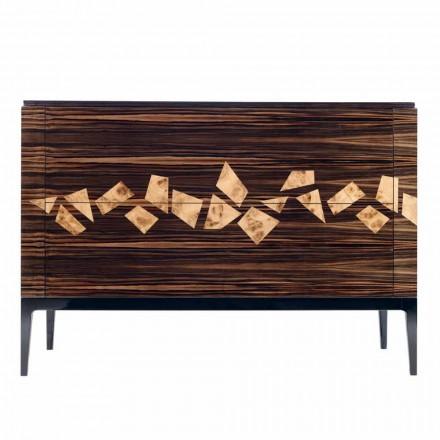 Design ebenholts trä byrå 4Cassetti Grilli Zarafa tillverkad i Italien
