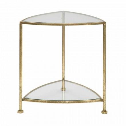 Triangulärt sängbord i modern design i järn och glas - Kira