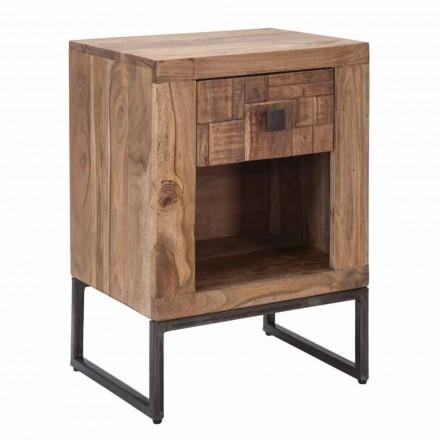 Sängbord med låda i akaciaträ och järn - Dionne