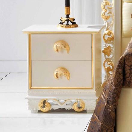 utforma nattduksbordet i trä med 2 lådor Zucchi, Made in Italy