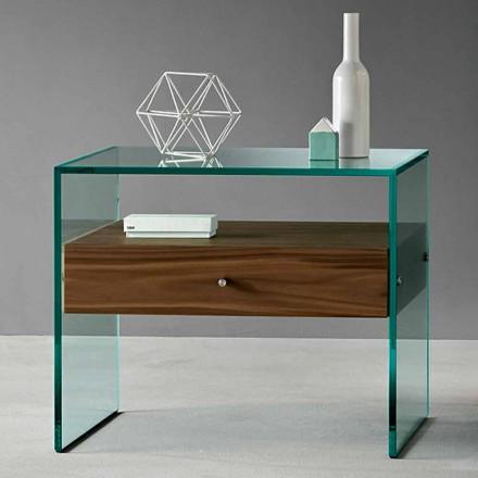 Sidobord med modern design i Extraclear Glass tillverkat i Italien - Segreto