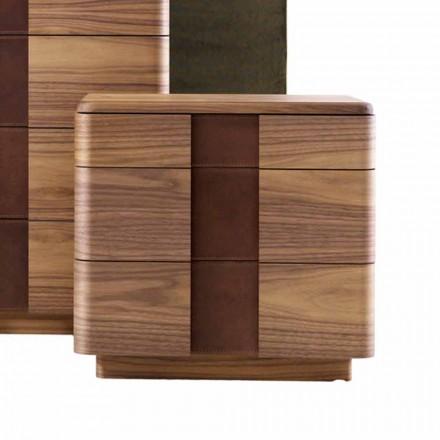 Massivt trä nattbord med modern design Grilli York tillverkad i Italien