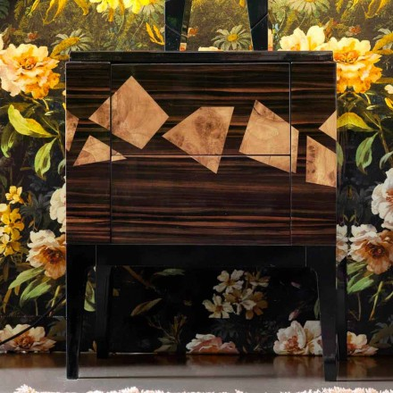 Sängbord i valnöt och ebenholts trä Grilli Zarafa gjord i Italien