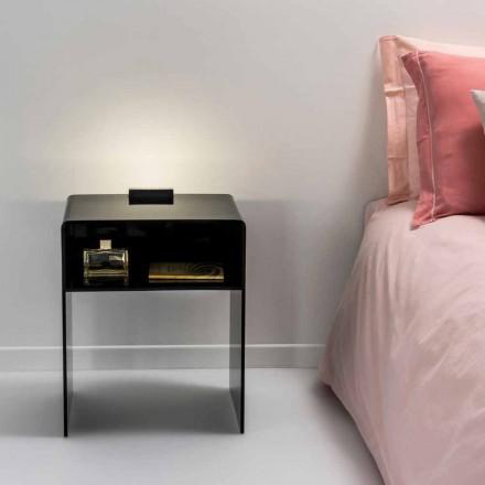 Svart nattduksbord med LED-ljus lyser att Tocco Adelia, tillverkad i Italien