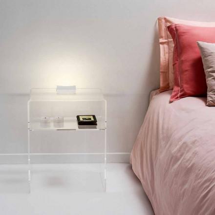 Nattduksbord med transparent LED-ljus lyser beröring Adelia
