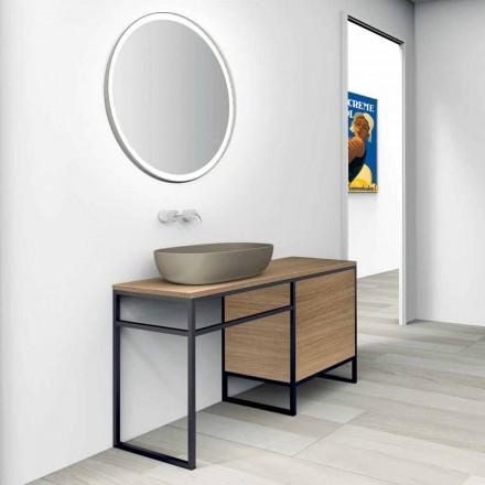 Komposition 3 badrumsmöbler i metall och trä Lyxig ek - Cizco