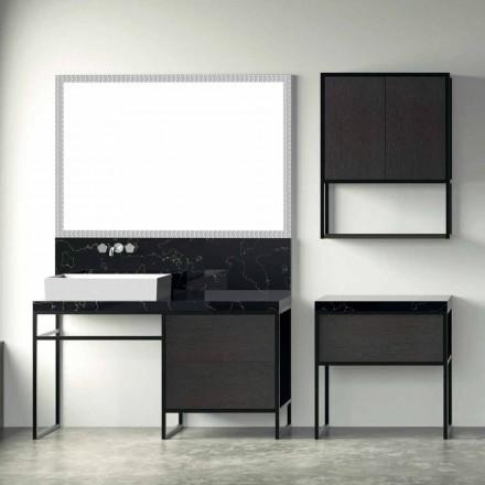 Komposition 5 Fristående badrumsmöbler i metall och Ecolegno Tillverkad i Italien - Cizco