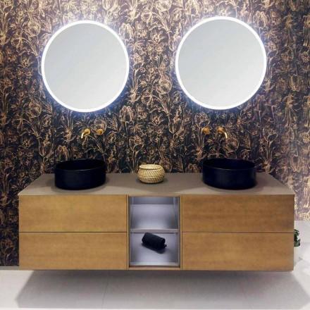 Sammansättning 5 Upphängda badrumsmöbler med dubbelt handfat Tillverkad i Italien - Renga