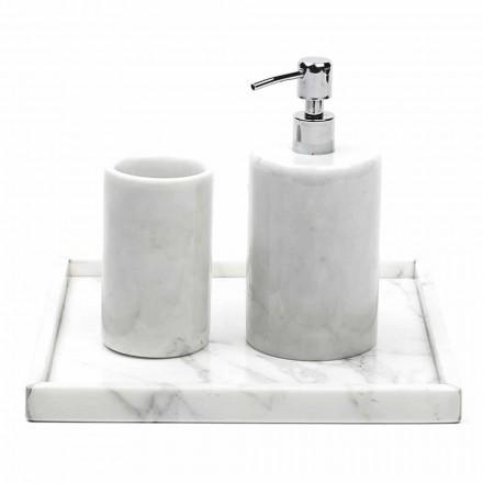 Sammansättning Badrumstillbehör i vit Carrara Marble Tillverkad i Italien - Tuono
