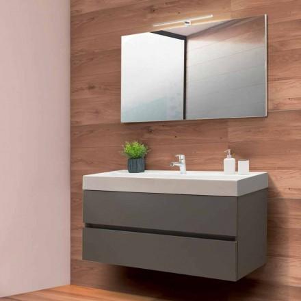 Badrumsskåp 120 cm, spegel och tvättställ - Becky