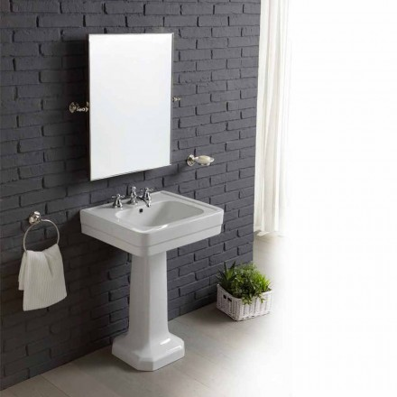 Sammansättningen av badrum sink i vitt keramiskt kolonn Ania