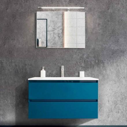 Badrumsskåp 90 cm, modern tvättställ och spegel - Becky