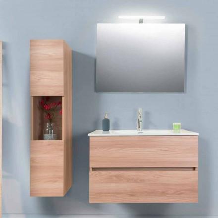 Badrumsskåp 90 cm, Wah handfat, spegel och kolonn - Becky