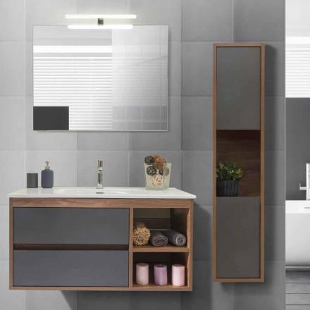 Badrumsskåp 100 cm, tvättställ, spegel och kolonn - Becky