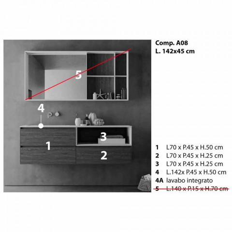Badrumsmöbler, modern och upphängd design tillverkad i Italien - Callisi8