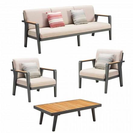 Utomhuskomposition 3-sits soffa, 2 fåtöljer och soffbord - Moira