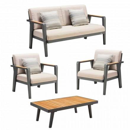 Trädgårdskomposition 2-sits soffa, 2 fåtöljer och soffbord - Moira