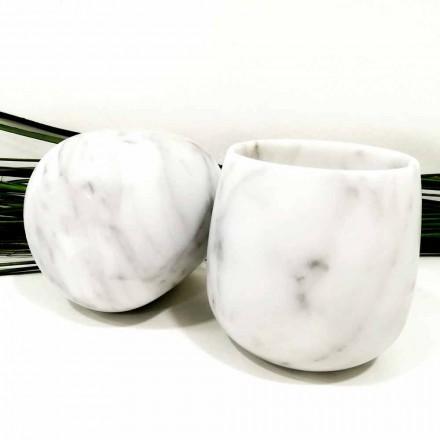 Sammansättning av 2 glas i vit Carrara-marmor Tillverkad i Italien - Dolla