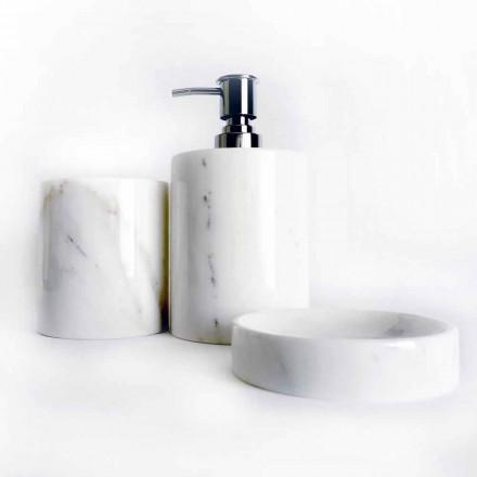 Sammansättning av 3 badrumstillbehör i polerad marmor Tillverkad i Italien - Trevio