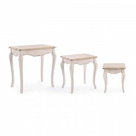 Sammansättning av tre klassiska designkaffebord av trä Homemotion - Classic